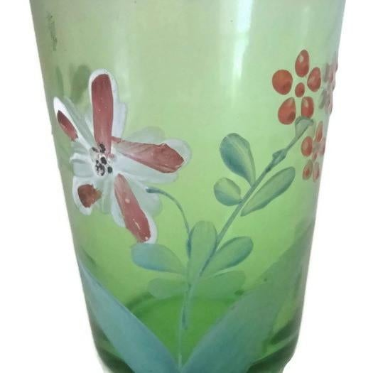 Cottage Antique Victorian Green Floral Hand Painted Glass Tumbler For Sale - Image 3 of 5