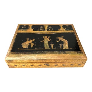 Vintage Florentine Gilt Incised Writing Box With Pompeiian Decoration For Sale
