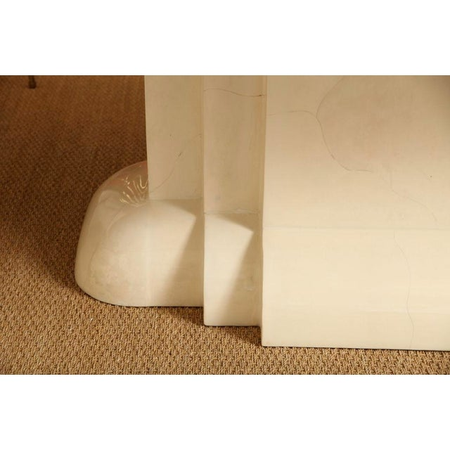 Animal Skin Karl Springer Style Monumental & Stately Lacquered Goat Skin Dining Table For Sale - Image 7 of 7