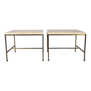 Paul McCobb Travertine Topped Occasional Tables - a Pair For Sale