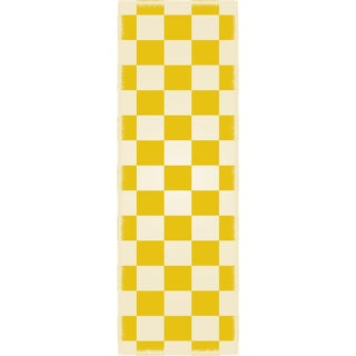 Yellow & White English Checker Rug - 2' X 6'