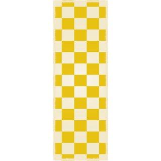 Yellow & White English Checker Rug - 2' X 6'
