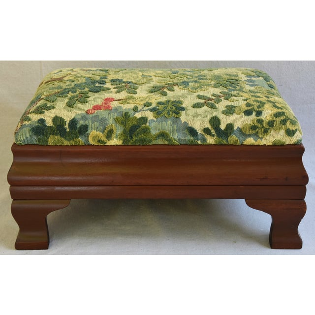 Early 1900s Foot Stool w/ Scalamandre Marly Velvet Fabric - Image 11 of 11