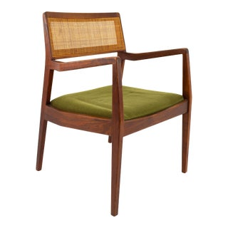 "Jens Risom ""Playboy"" Mid Century Cane Back Chair For Sale"