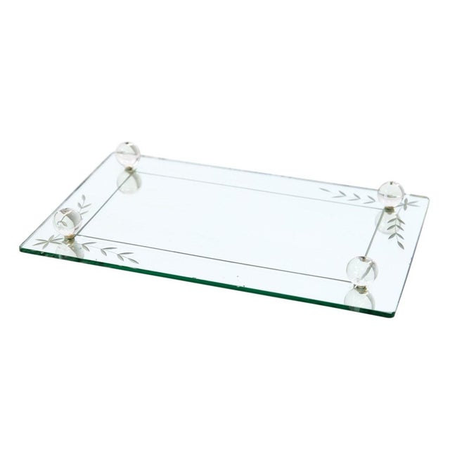 Etched Glass Vanity Mirror Tray For Sale In Milwaukee - Image 6 of 6