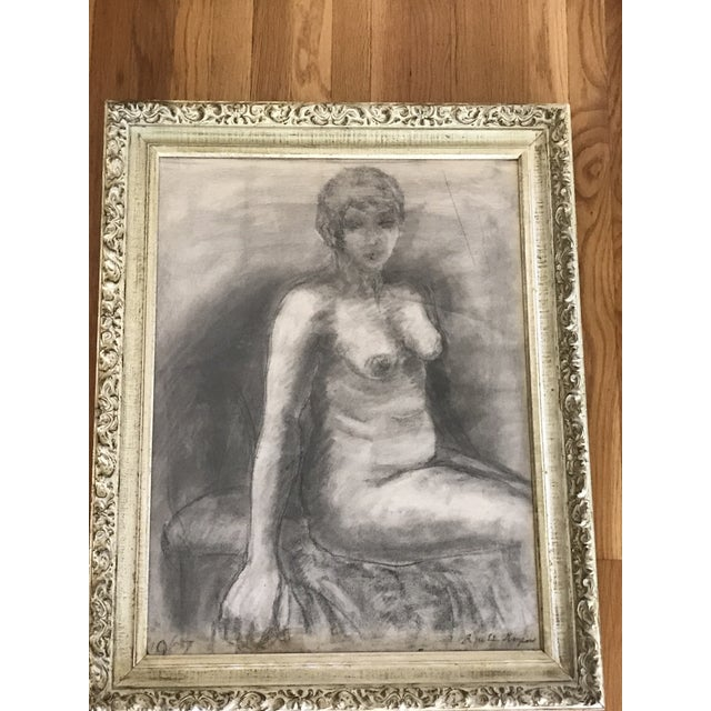 Sensual Midcentury 1967 Signed charcoal artisan sketch of a nude woman framed in a 1960s beautiful textured carved wood...