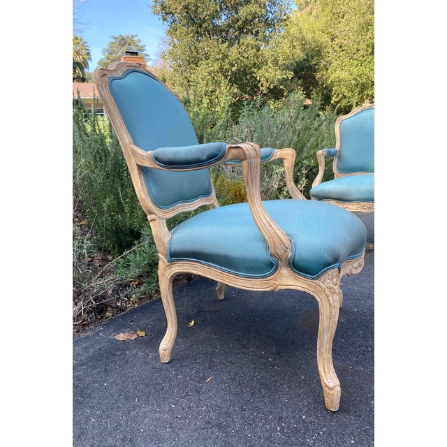 Wood Carved Upholstered Arm Chairs - a Pair For Sale In Los Angeles - Image 6 of 9