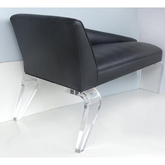 Animal Skin Sculptural Tapered Chaise With Leather Upholstery & Lucite Legs For Sale - Image 7 of 9