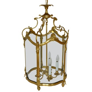 Bronze Gold Gilt Rounded Glass Lantern Fixture Chandelier For Sale