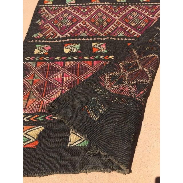 Cotton Moroccan Black Tuareg Tribal African Rug Runner For Sale - Image 7 of 8