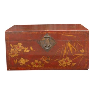 Mid 20th Century Red and Gilt Lacquer Trunk For Sale