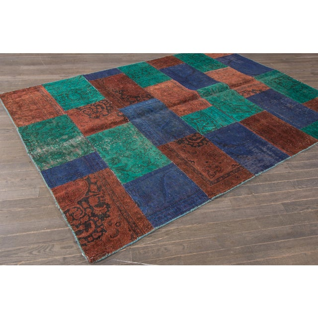 "Vintage Patchwork Overdyed Rug - 6'6"" X 8'10"" For Sale - Image 5 of 6"