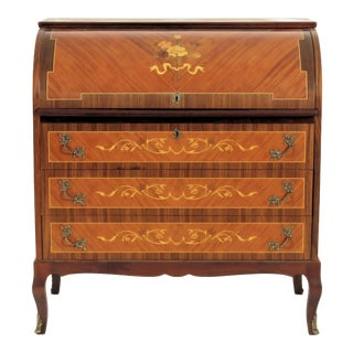20th Century French Style Floral Inlaid Cylinder Rolltop Desk For Sale