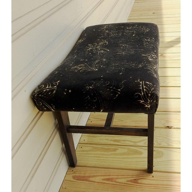 Mid-Century Modern Custom Velvet Upholstery Bench For Sale - Image 4 of 7