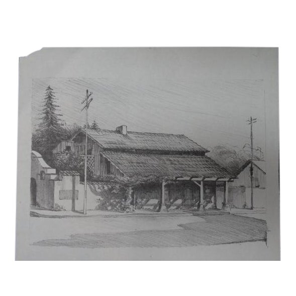 """Frederic Watts """"Old Adobe House With Porch"""" Lithograph - Image 1 of 3"""