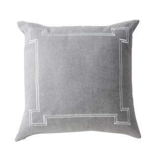 Aria Grey Linen Accent Pillow With Metallic Embroidery