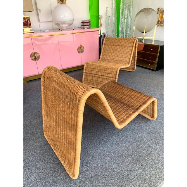 Pair of Rattan Lounge Chair P3 by Tito Agnoli. Italy, 1960s For Sale - Image 6 of 12