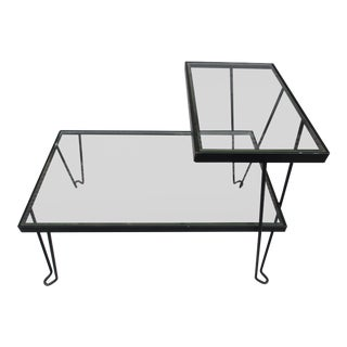 Glass and Metal Side Table -Hairpin Legs