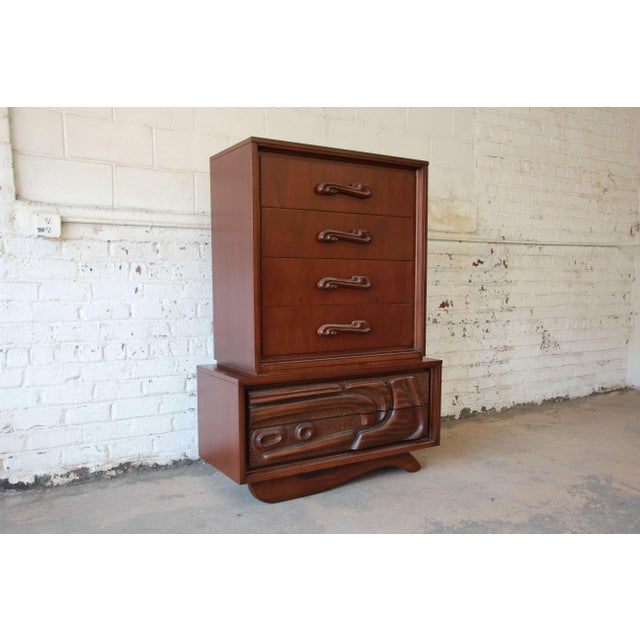Mid-Century Modern Mid-Century Sculptural Highboy Dresser in the Style of Philip Lloyd Powell For Sale - Image 3 of 11
