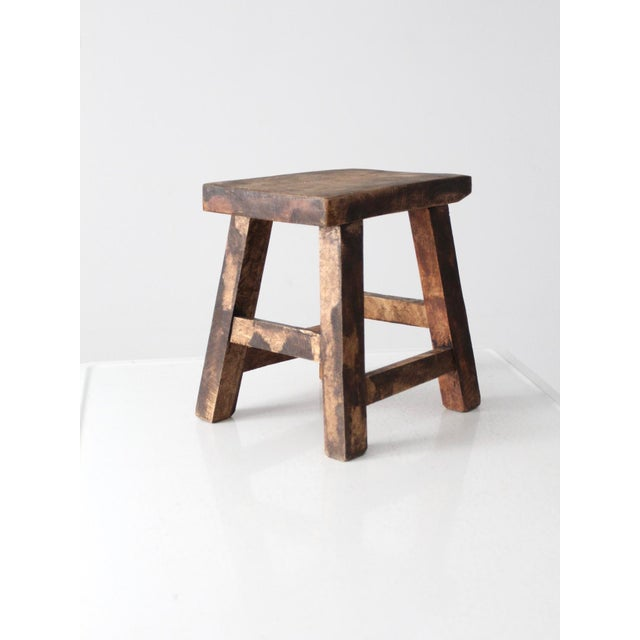 Asian Vintage Chinese Wood Stool For Sale - Image 3 of 8