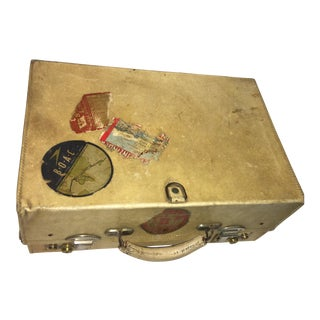 Vintage English Vellum Suitcase with Brass Hardware For Sale