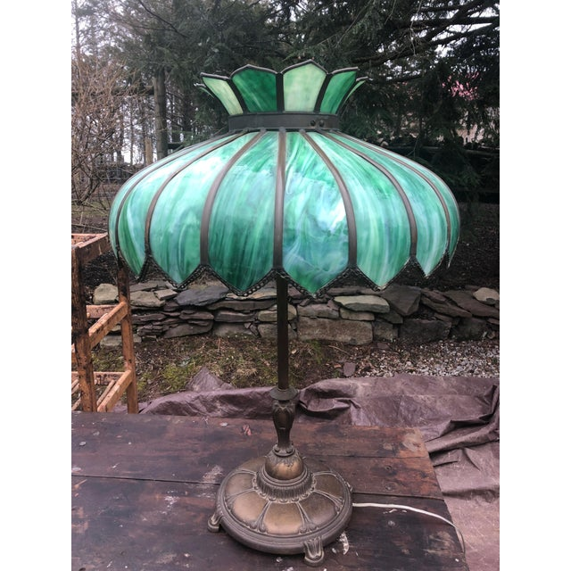 Green Vintage Green Leaded Glass and Brass Large Table Lamp For Sale - Image 8 of 11