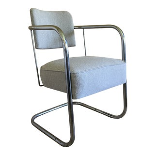 Vintage Chrome Mid Century Chair With New Performance Upholstery