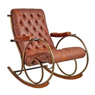Lee Woodard Rocking Chair W/ Weathered Upholstery Circa 1970s