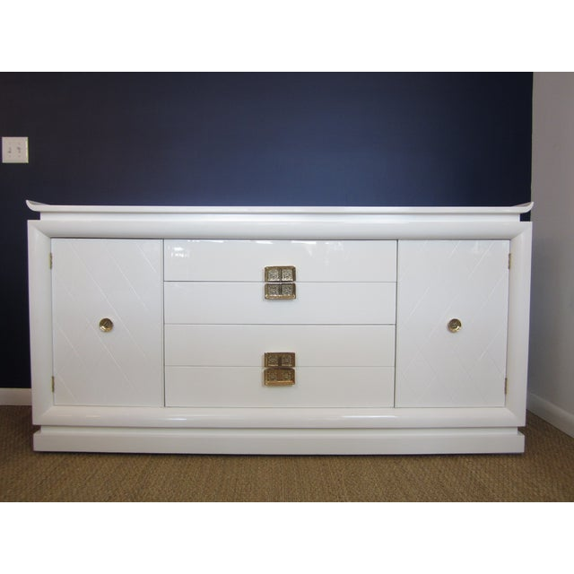 White Lacquer Chinoiserie Credenza - Image 2 of 10