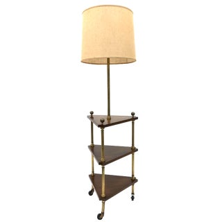 Vintage Mid-Century Rolling 3-Tier Lamp Table For Sale
