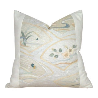 Fan and Flower Motif Japanese Raw Silk Obi Pillow Cover For Sale
