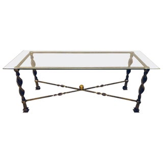 Hollywood Regency Style Brass and Steel Glass Top Coffee Table Manner Jansen For Sale
