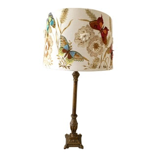 Early 20th Century Crewel Work Embroidered Butterflies in the Garden Arts Table Lamp For Sale