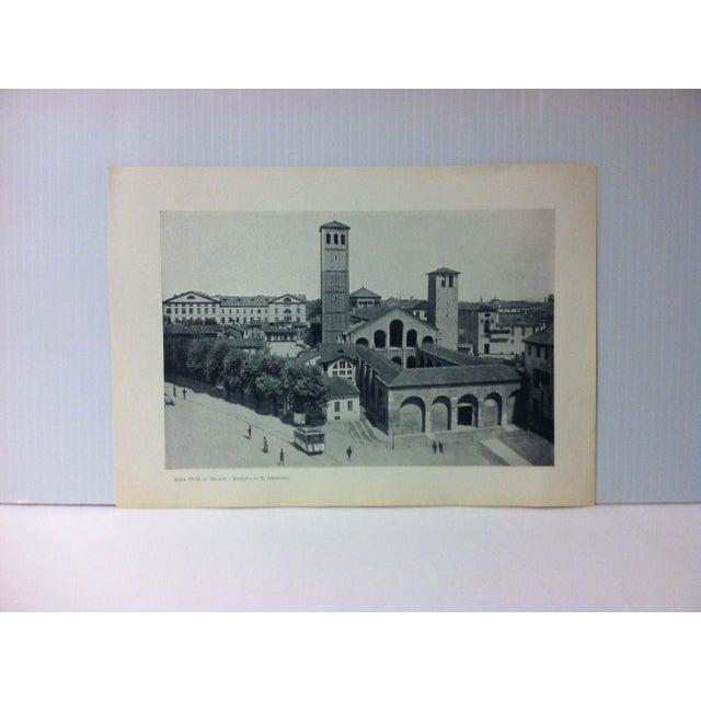"""Circa 1930 """"Basilica Di S. Ambrogio"""" Print of Milano Italy For Sale - Image 4 of 4"""