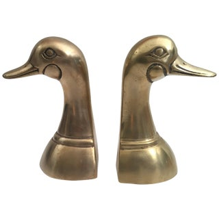 Vintage Polished Cast Brass Duck Bookends, Circa 1950 - a Pair For Sale