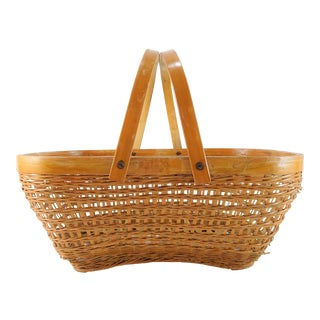 Vintage Mid-Century Primitive Chinese Bamboo Woven Basket For Sale