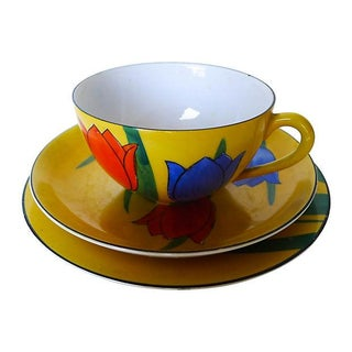Hand Painted Okwan Porcelain Cup, Bowl & Plate For Sale