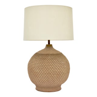 Exceptionally Large California Stoneware Table Lamp For Sale