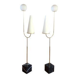 Large Mid-Century Modern Marble, Brass & Glass Floor Lamps, Italy 1960s - a Pair For Sale