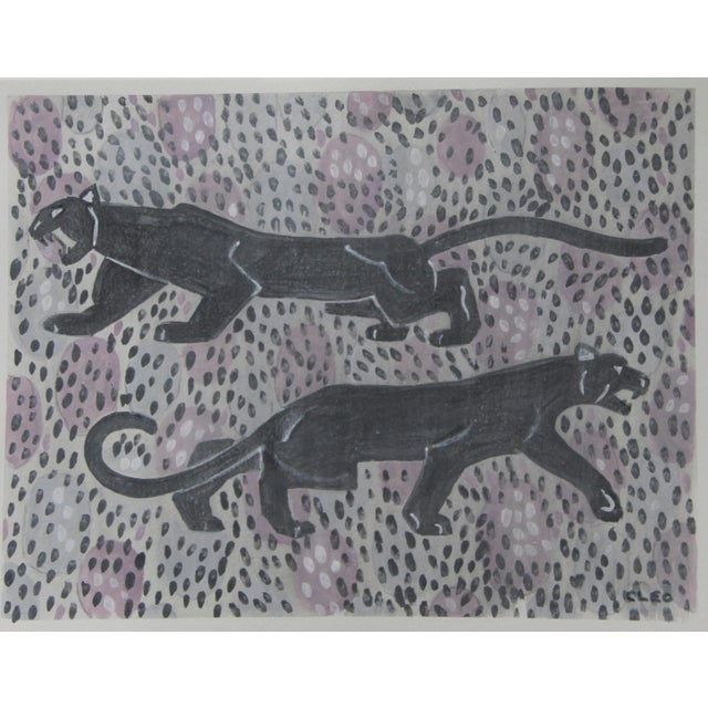 Cleo Plowden Chinoiserie Panther Leopard Gray Painting by Cleo PLowden For Sale - Image 4 of 5