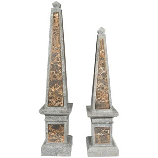 Maitland Smith Tessellated Marble Obelisks - A Pair For Sale