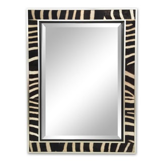 Zebra Hide & Silver Finish Frame Beveled Mirror For Sale