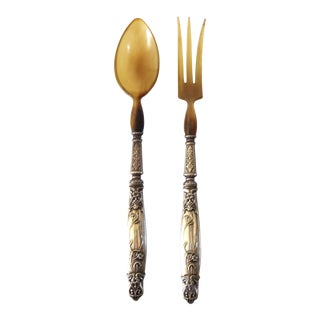 Late 19th Century Antique French Art Nouveau Horn and Silver Salad Servers - Fork and Spoon - a Pair For Sale