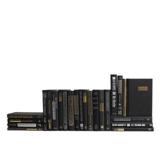 Modern Black Books: Silver & Gilt Accents - Set of Twenty Four For Sale