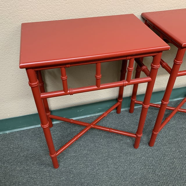 Mid 20th Century Mid-20th Century Red Faux Bamboo Accent Tables- a Pair For Sale - Image 5 of 8