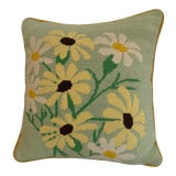 Image of Vintage Shabby Chic Needlepoint Floral Pillow For Sale