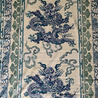 """Aqua Peacock Blue Luxe Thailand """"enter the Dragon"""" Richard Smith for Thompson Linen Fabric- 6 1/2 Yards For Sale"""