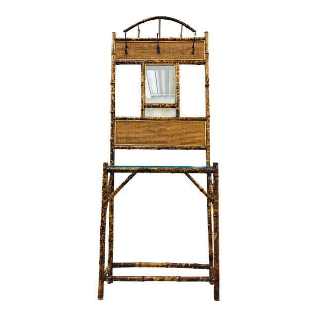 Vintage Scorched Bamboo Hall Tree For Sale