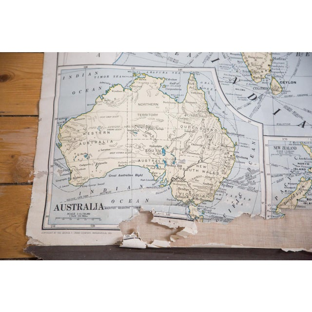 Vintage Cram's Pull Down Map of Asia and Australia For Sale - Image 5 of 5