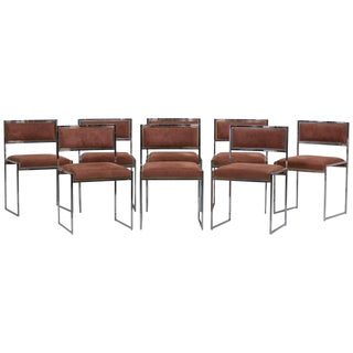 Set of 8 Dining Chairs in Brass or Gold by Willy Rizzo For Sale